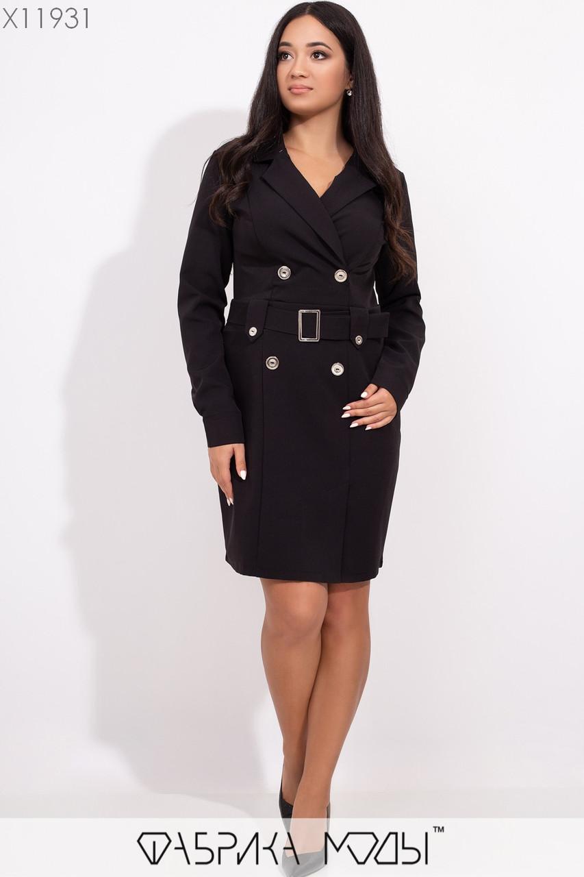 Платье - пиджак в больших размерах с поясом и длинным рукавом 1blr340