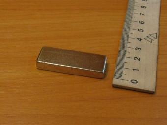 Прямоугольный неодимовый магнит40х15х6мм, сила сцепления 14 кг, N42