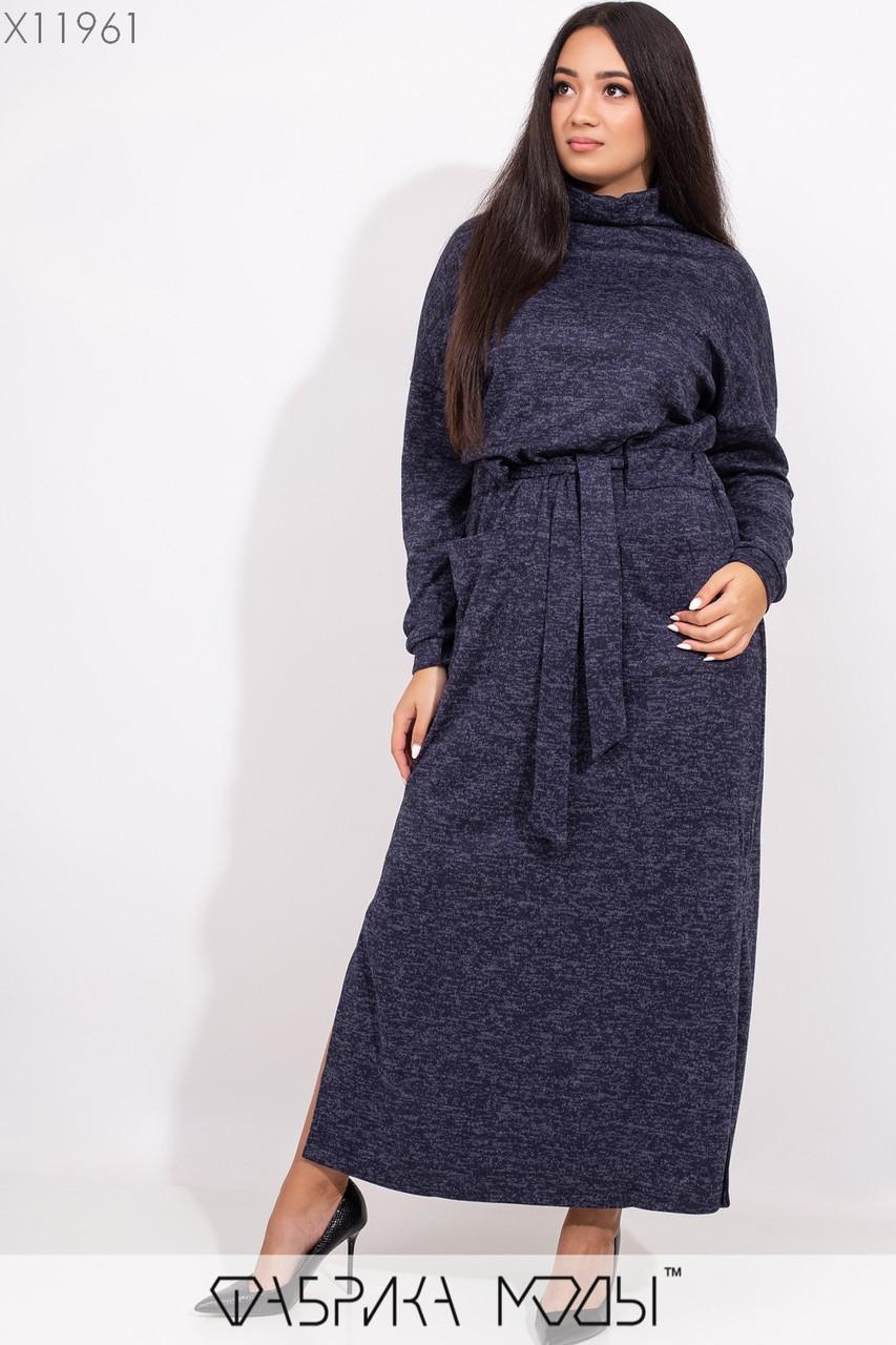 Ангоровое длинное платье в больших размерах с поясом и воротником 1blr352