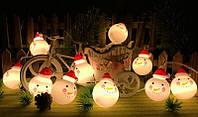 Гирлянда снеговички 10 LED, Светодиодные гирлянды