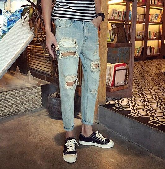 Мужские рваные джинсовые штаны