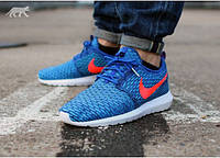 Мужские летние кроссовки Nike Roshe Run Flyknit New 2015 41 41 Синий