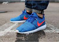 Мужские летние кроссовки Nike Roshe Run Flyknit New 2015 42 40 Синий