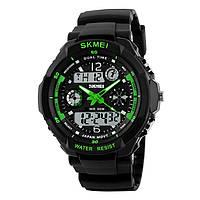 Skmei 0931 s - shock зеленые мужские спортивные часы, фото 1