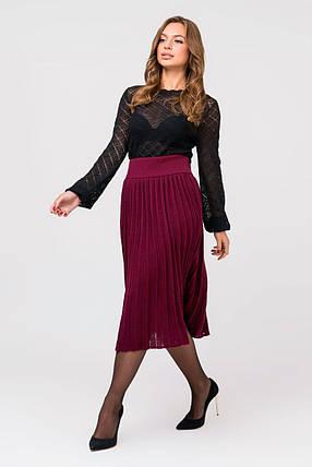 Вязаная юбка плиссе миди (марсала), фото 2