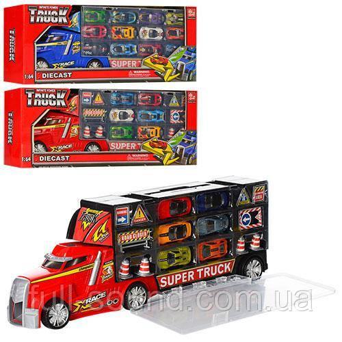 Трейлер с машинками и дорожными знаками 80506