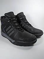Ботинки мужские высокие зимние в стиле Adidas из натуральной кожи на меху чёрный (Б1-adik)