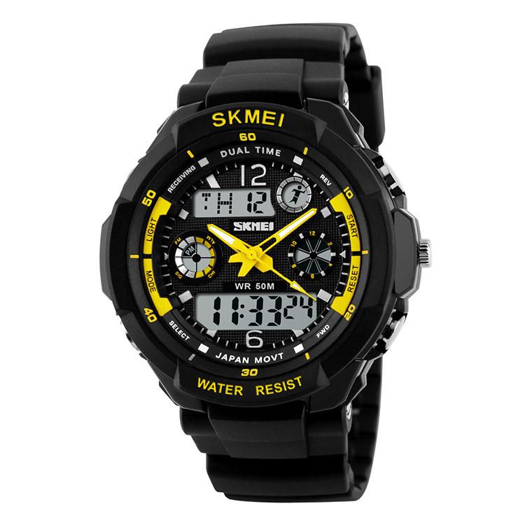 Skmei 0931 s  -shock желтые мужские спортивные часы