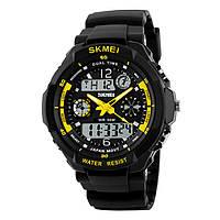 Skmei 0931 s  -shock желтые мужские спортивные часы, фото 1