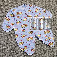 Тёплый человечек р 62 1-3 мес начес байка флис слип на новорожденных нецарапка внешние швы ФУТЕР 834 Голубой