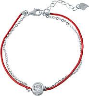 Серебряный браслет с красной нитью оберег  с фианитом  SilverBreeze