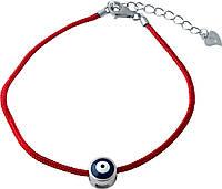 Серебряный браслет красная нить оберег SilverBreeze без камней