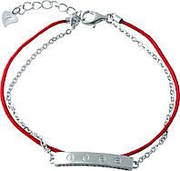Серебряный браслет с красной нитью оберег  двойной  SilverBreeze с фианитами
