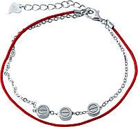 Серебряный браслет с красной нитью оберег  двойной без камней SilverBreeze, фото 1