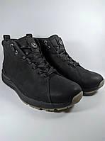Ecco ботинки мужские высокие зимние из натуральной кожи на меху чёрный (Б4-ecco)