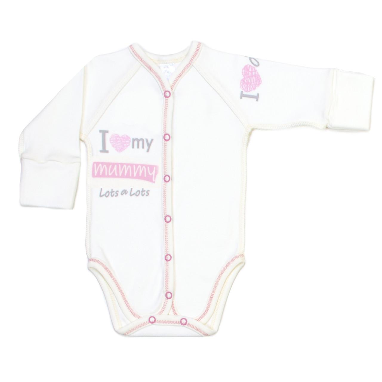 Боди для новорожденных Veres I love my mammy pink интерлок молочный