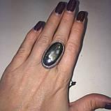Кольцо овальное с камнем пирит 17,5 размер. Кольцо с пиритом Индия, фото 2