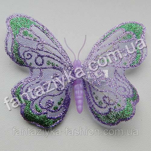 Бабочка 9см из сетки блестящая сиреневая