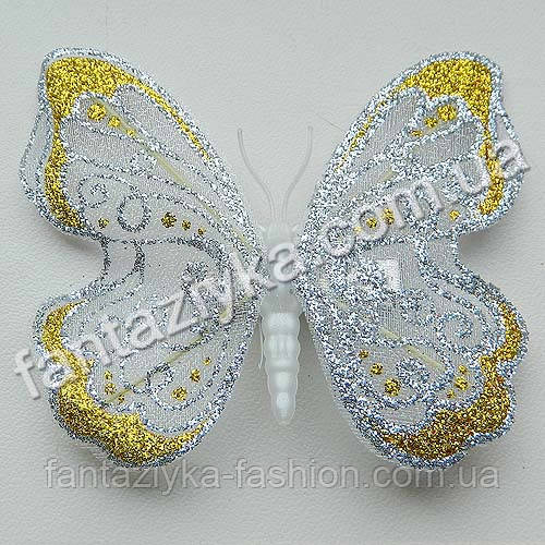 Бабочка 9см из сетки блестящая белая