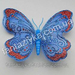 Бабочка 9см из сетки блестящая синяя