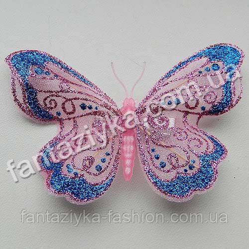Бабочка 9см из сетки блестящая розовая