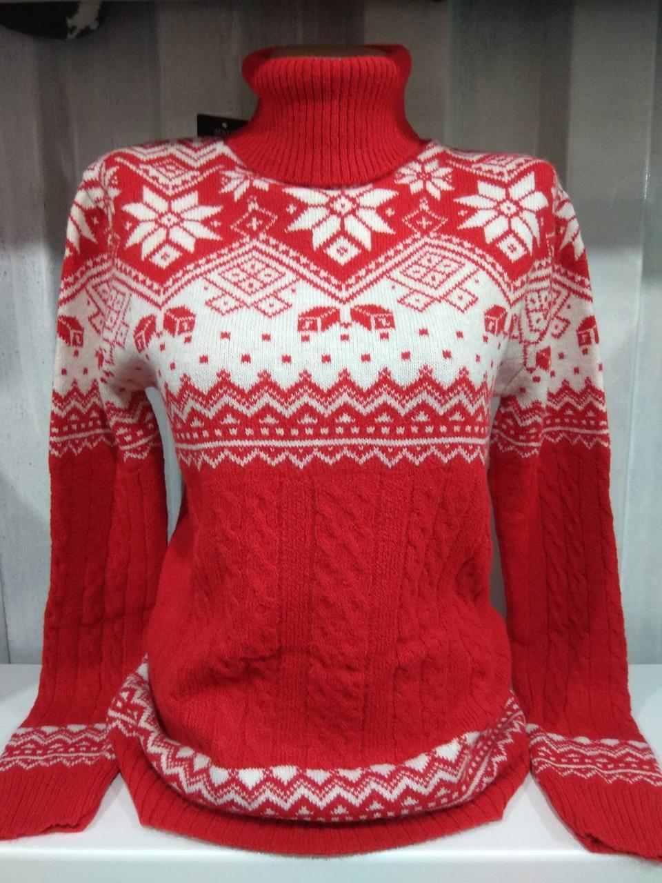 Теплий светр жіночий в'язаний светр червоний