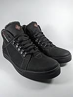 Ботинки мужские высокие зимние в стиле Columbia из натуральной кожи на меху чёрный (Б1-коламбия)