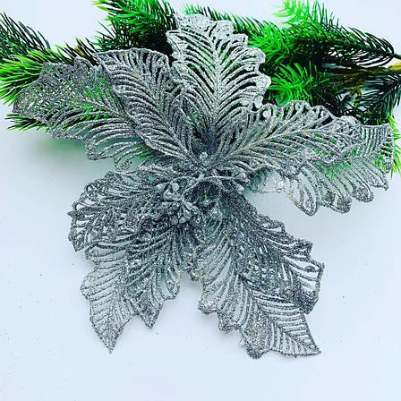 Новогодний декор.Пуансеттия серебро(24 см), фото 2