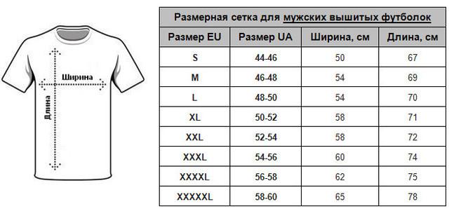 Размеры мужских футболок вышиванок