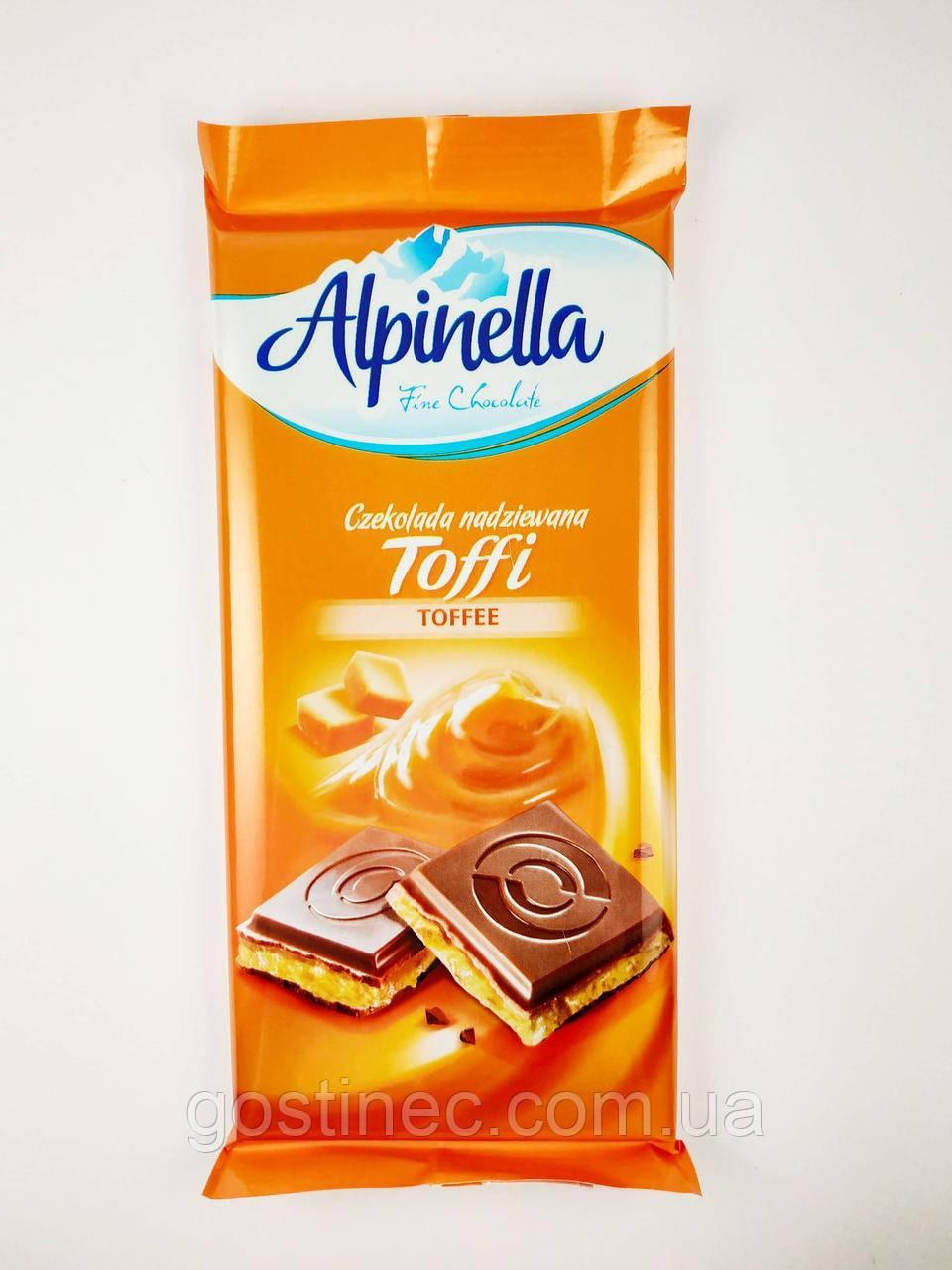 Шоколад Alpinella молочный с начинкой тоффи 100г