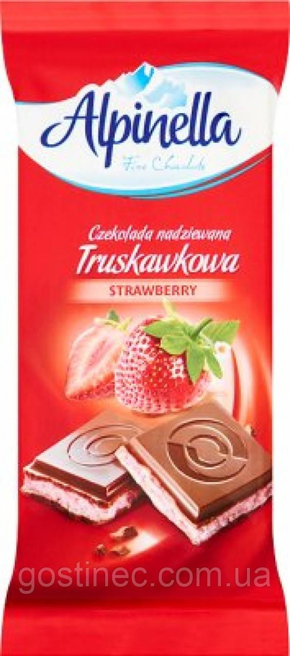 Шоколад Alpinella молочний з полуницею 100г