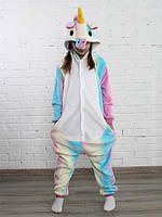 Пижама кигуруми для детей Единорог радужный пастель