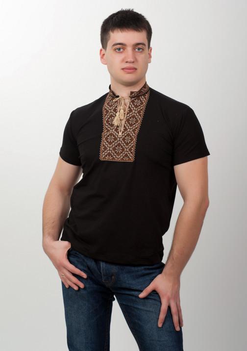 Черная вышитая футболка