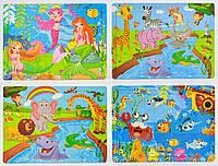 Пазлы для детей деревянные Веселые мультфильмы, 60 деталей, 4 вида