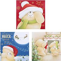 Новогодние открытки Hallmark с мишкой Навсегда друзья, набор 3 шт.