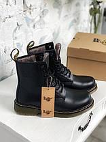 Женские зимние ботинки Dr. Martens 1460 Winter Fur Logo Black Доктор Мартинс С МЕХОМ черные, фото 2