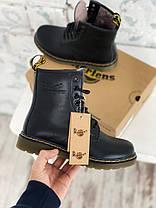 Женские зимние ботинки Dr. Martens 1460 Winter Fur Logo Black Доктор Мартинс С МЕХОМ черные, фото 3