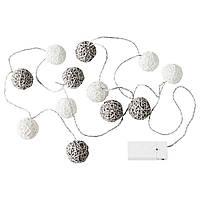 Гірлянда LED IKEA LIVSAR сіро-біла на батарейках (504.213.57)