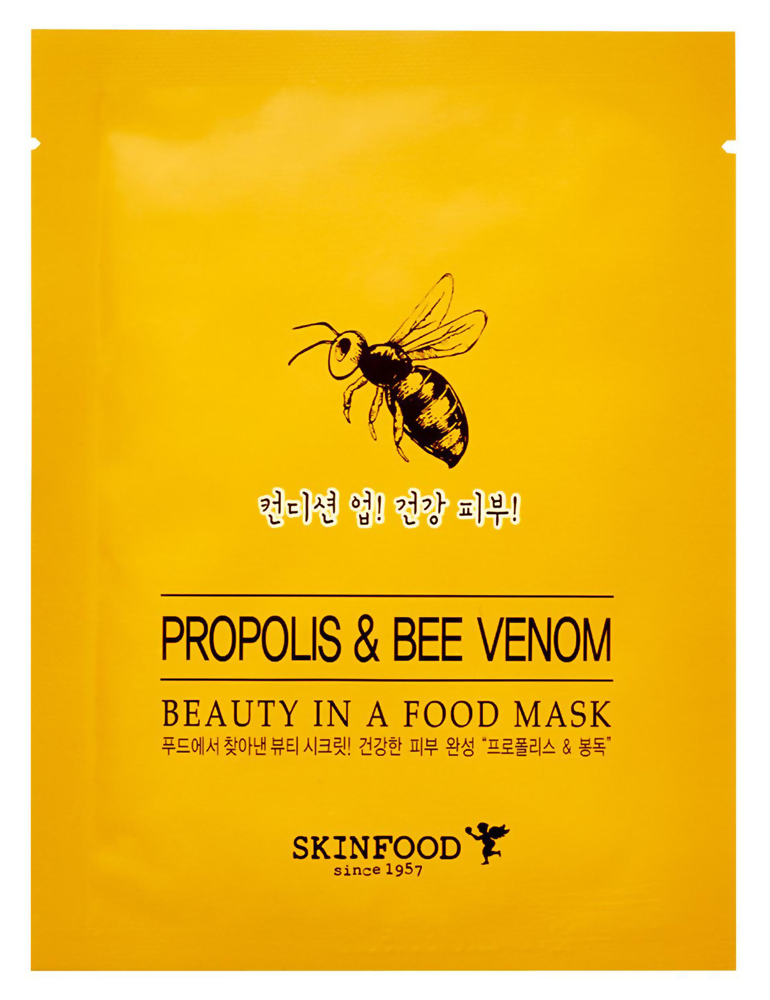 Укрепляющая тканевая маска для лица Skinfood Beauty in a Food Mask Sheet Прополис