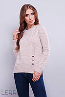 Стильный женский свитер универсального размера серая пудра