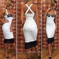 Вечернее облегающее платье с глубоким декольте и черным кружевом на груди в снизу. Арт-2319/2