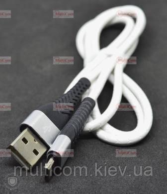 05-09-097. Шнур USB штекер А - штекер miсro USB, прогумований, білий, 1м