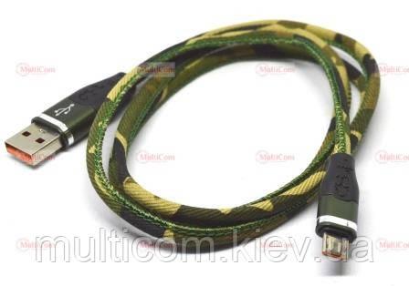 05-09-095. Шнур USB штекер А - штекер miсro USB, тканеваяй оплетка, хаки, 1м