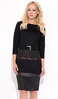 Женское трикотажное платье-футляр черного цвета. Модель Dion Zaps