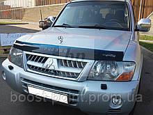 Дефлектор капоту (мухобійка) Mitsubishi pajero wagon III (мітсубісі паджеро вагон 3) 1999-2006