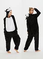 Пижама кигуруми женская и мужская Хаски черный