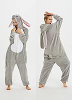 Пижама кигуруми женская и мужская Кролик ушастый серый