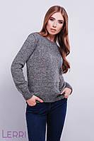 Повседневный женский свитер темно-серый