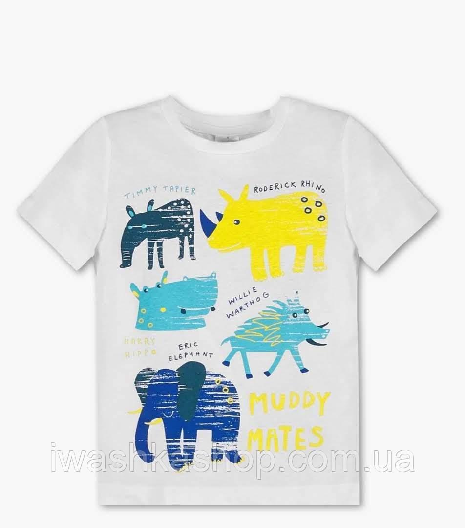 Белая футболка с органического хлопка с животными, на мальчика 2 - 3 лет, р. 98, Palomino / C&A