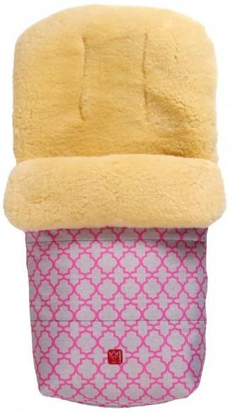Kaiser Конверт тёплый из овчины Natura розовый с орнаментом